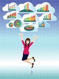 Businesswoman jumping with business graphs cloud set Stock Photography