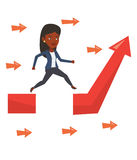 Businesswoman jumping over gap on arrow going up. Royalty Free Stock Photo