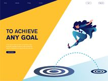 Businesswoman jumping to big target. To achieve any goal. vector illustration