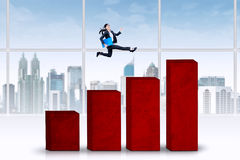 Businesswoman jumps over business chart Royalty Free Stock Photo