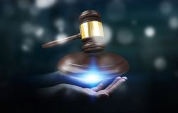 Businesswoman with justice hammer 3D rendering. Businesswoman on blurred background with justice hammer 3D rendering Stock Images