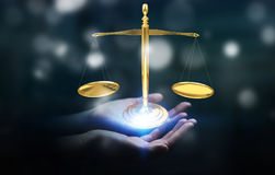 Businesswoman with justice weighing scales 3D rendering. Businesswoman on blurred background with justice weighing scales 3D rendering Royalty Free Stock Photos