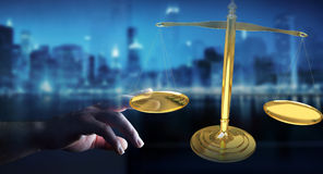 Businesswoman with justice weighing scales 3D rendering. Businesswoman on blurred background with justice weighing scales 3D rendering Royalty Free Stock Image