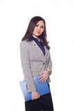 Businesswoman, Kazakh girl. On a white background Royalty Free Stock Images