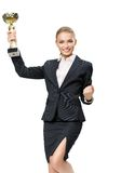 Businesswoman keeping cup Royalty Free Stock Images