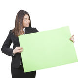 Businesswoman keeping signboard Royalty Free Stock Image