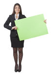 Businesswoman keeping signboard Stock Photography