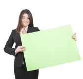 Businesswoman keeping signboard Royalty Free Stock Photos