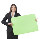 Businesswoman keeping signboard Royalty Free Stock Photo
