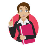 Businesswoman keeps file in circle Stock Images