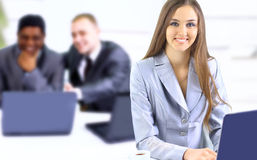 Businesswoman keeps the laptop. Royalty Free Stock Photo