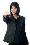 Businesswoman with Key Stock Photography