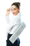 Businesswoman with a keyboard Stock Image