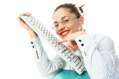 Businesswoman with a keyboard Royalty Free Stock Photos