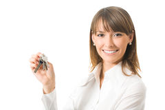 Businesswoman with keys Stock Images