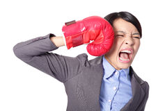 Businesswoman knock down itself Royalty Free Stock Images