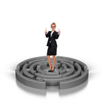 Businesswoman in labyrinth Stock Image