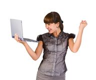 Businesswoman with laptop. Beautiful businesswoman with laptop.Over white background Royalty Free Stock Photography