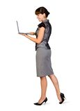 Businesswoman with Laptop. Beautiful Businesswoman with Laptop Over white background Stock Images