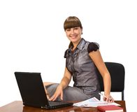Businesswoman with  laptop. Beautiful businesswoman with laptop.Over white background Stock Photography