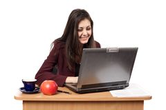 Businesswoman at the laptop Stock Photography
