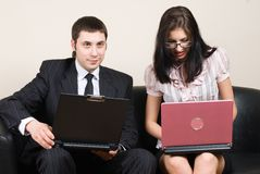 Businesswoman with laptop Stock Photos