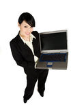 Businesswoman and laptop Stock Photography