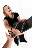 Businesswoman and laptop Stock Images