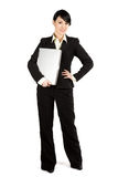 Businesswoman and laptop Royalty Free Stock Photos