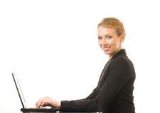 Businesswoman on laptop Royalty Free Stock Photos