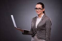 The businesswoman with laptop in business concept Royalty Free Stock Photography