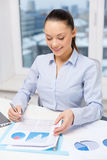 Businesswoman with laptop and charts in office Royalty Free Stock Photo