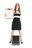 Businesswoman with Laptop and Clipboard royalty free stock photo