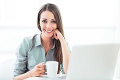 Businesswoman with laptop royalty free stock photos