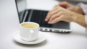 Businesswoman with laptop and coffee at office stock video