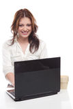 Businesswoman with laptop computer Stock Photos