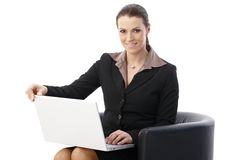 Businesswoman with laptop computer Royalty Free Stock Photo