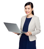 Businesswoman with laptop computer Royalty Free Stock Images