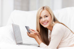 Businesswoman with laptop and credit card Royalty Free Stock Photo