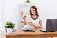 Businesswoman with laptop and diary concept Stock Photo