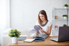 Businesswoman with laptop and diary concept Royalty Free Stock Photos