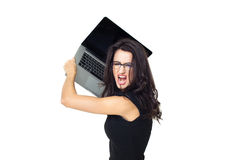 Businesswoman with laptop. Businesswoman dressed in black with laptop isolated on a white background Royalty Free Stock Photos