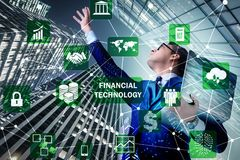 Businesswoman with laptop in financial technology fintech concep. T royalty free stock image