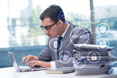 Businesswoman with laptop in financial technology fintech concep. T royalty free stock photos