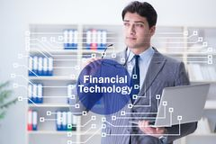 Businesswoman with laptop in financial technology fintech concep. T stock images