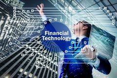 Businesswoman with laptop in financial technology fintech concep. T stock image