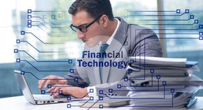 Businesswoman with laptop in financial technology fintech concep. T royalty free stock images