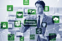 Businesswoman with laptop in financial technology fintech concep. T royalty free stock photo