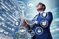 Businesswoman with laptop in financial technology fintech concep. T stock photo