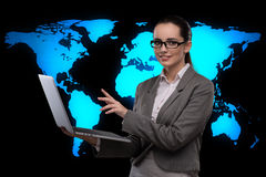 The businesswoman with laptop in global business concept Stock Images